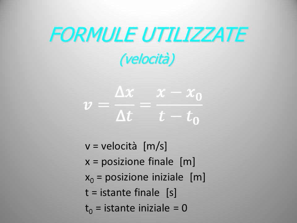 FORMULE UTILIZZATE (velocità) v = velocità [m/s]